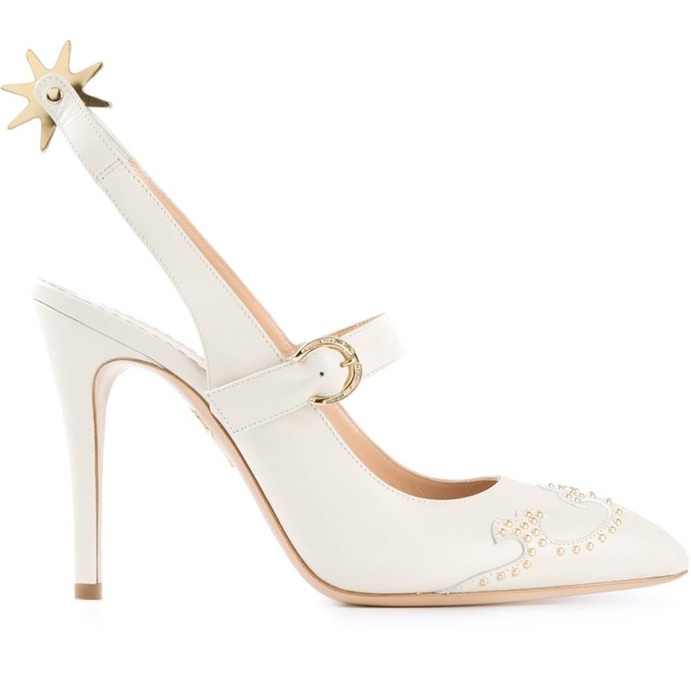 Pantofi din piele cu detalii metalice, Charlotte Olympia, farfetch.com, 415,50 euro