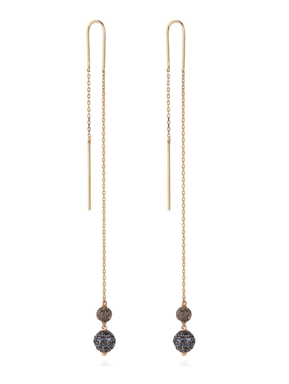 Cercei din aur galben cu diamante si safire, Laura Lee, 4.400 lei