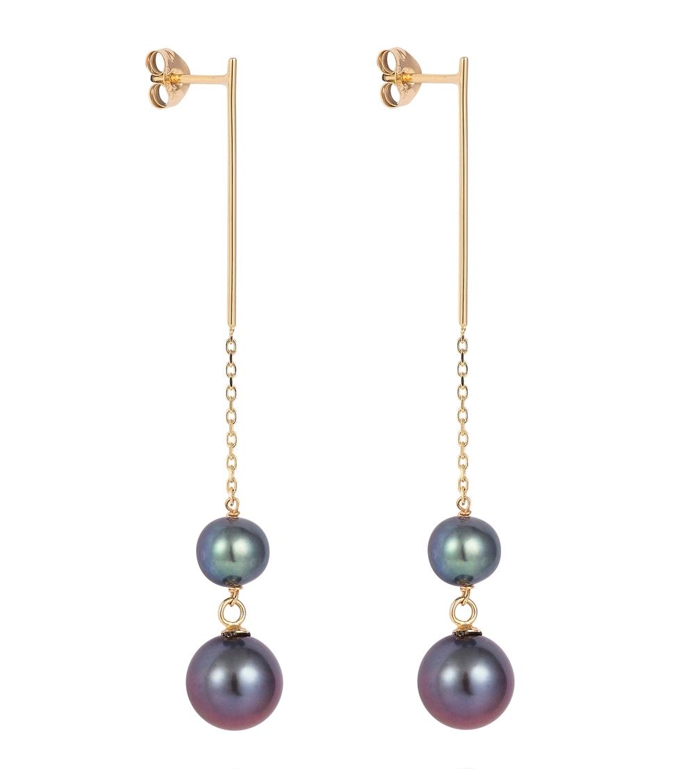 Cercei din aur galben cu perle albastre, Laura Lee, 1.700 lei