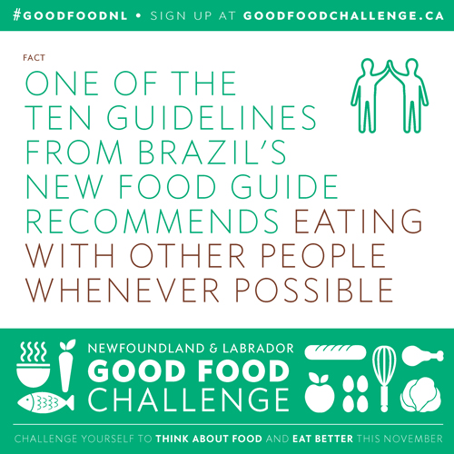 NL Good Food Challenge: One of the Ten Guidelines from Brazil's New Food Guide Recommends Eating With Other People Whenever Possible