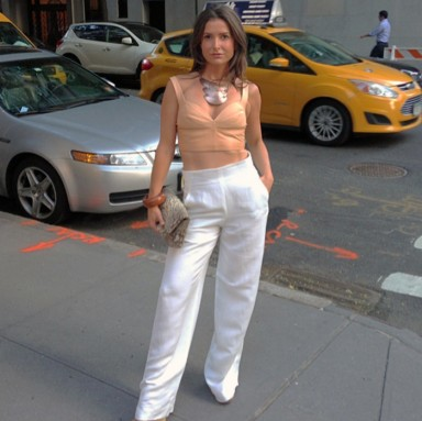 Wide-Leg White Trousers