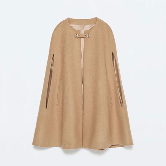 Zara Buttoned Cape Coat