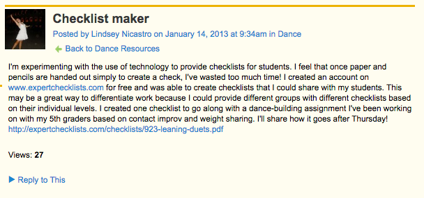 Using Ning's discussion forum, dance specialist Lindsey Nicastro shares strategies for distributing checklists.
