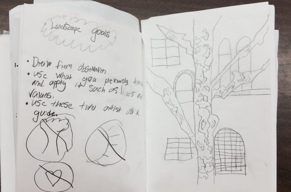 Students took notes on drawing from observation.