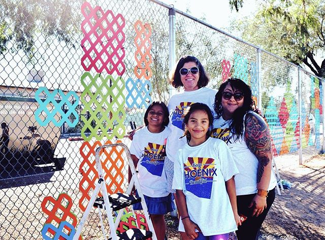 Thank you to the amazing artist, Ariane Stein, @avignonwallcoverings for her #creative chain-link fence art at Crockett Elementary School. She used lattice and UV protected paint to brighten up the school's fence. We love her cactus & mountain design!  #keepphxburritoful www.avignonwallcoverings.com