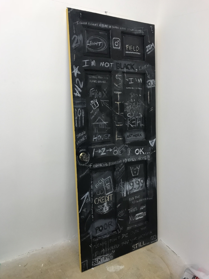 "28""x80""- acrylic, ink, aerosol, crayon on wooden door"