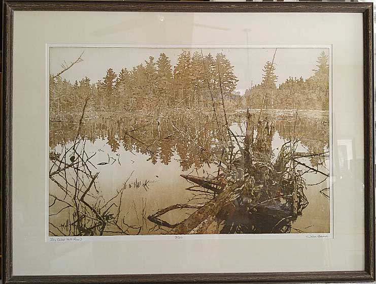 "John Benn, Ontario, Dry Point Etchin 7/20, ""By Cedar Hill Road"", Size: 32 x 24, Price: 175.00"