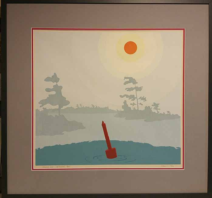 "John Lash, Original Serigraph 4/10, ""Morning Mist-Georgian Bay"" Size: 31 x 30, Price: 395.00"