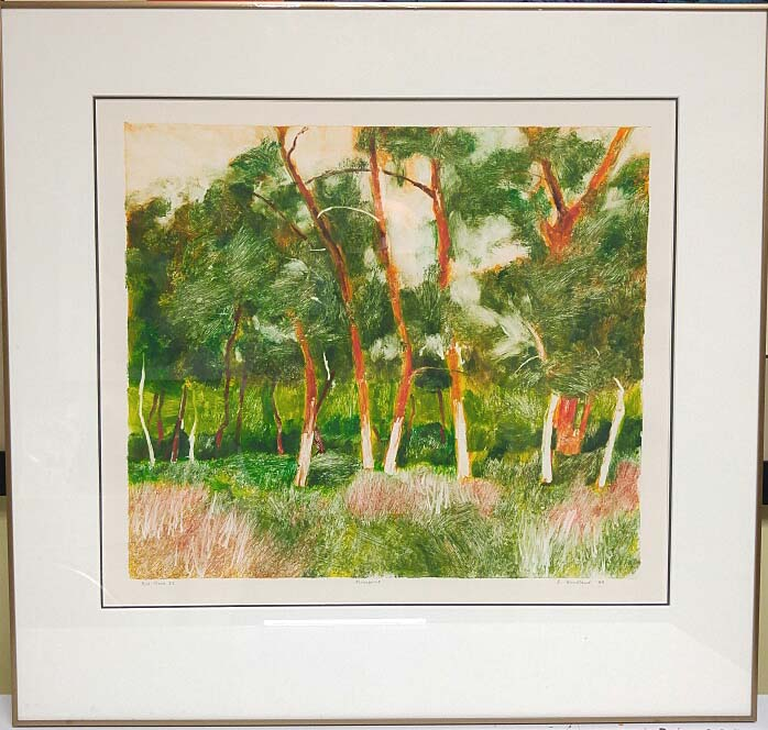 "Bette Woodland BFA, Winnipeg, Monoprint, ""Red Trees"", Size: 26 x 25, Price: 275.00"