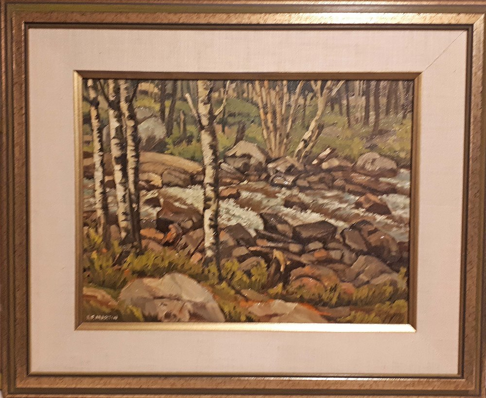 "Ken Martin, Manitoba, Oil on board, ""The Rapids - Rushing River"" Size: 23 x 19, Price: 325.00"