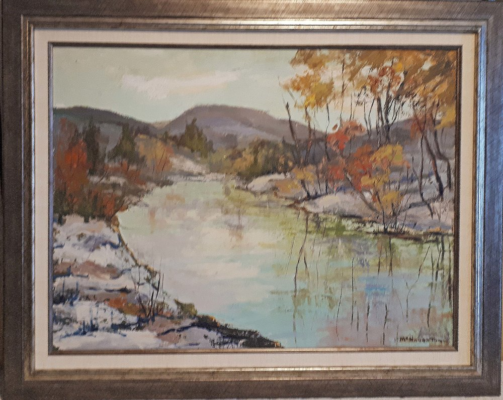 "Mcnaughton, Oil on board, ""Winter River - Manitoba"", Size: 29 x 24, Price: 295.00"