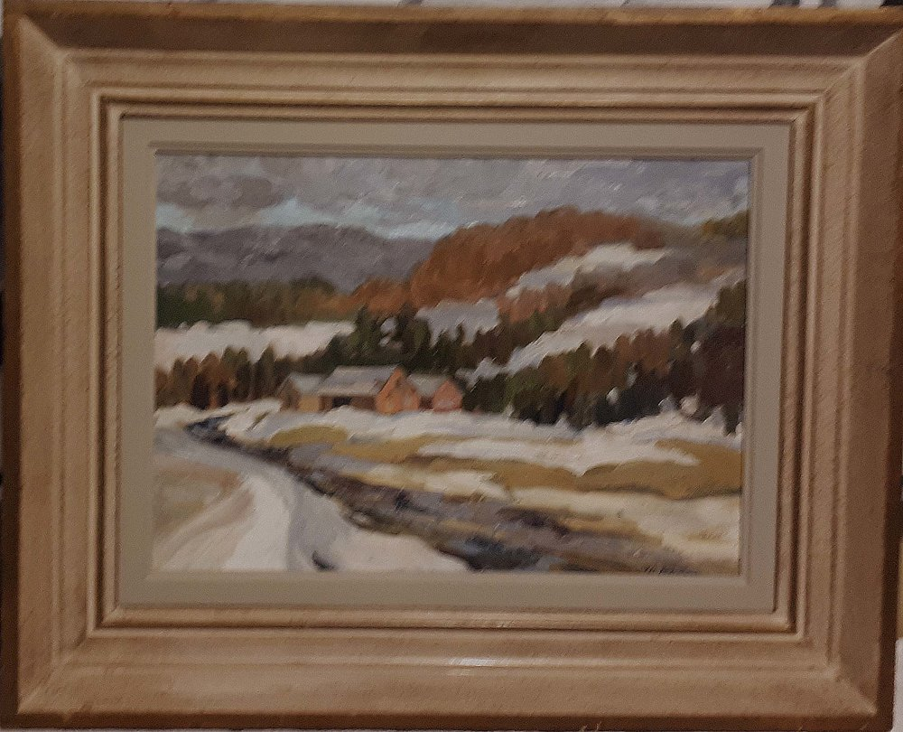 Mona Barry, Quebec, Size: 20 x 16, Price: 250.00 (Note this image is blurred and not a good representation of this lovely Quebec country side painting.)