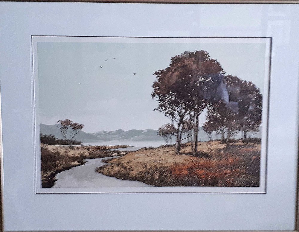 "John McNulty, Ireland, Etching 31/175, Riverbank"", Size: 30 x 24, Price: 195.00"