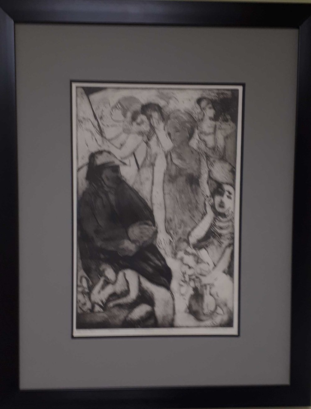 "Marielouise Kreyes MSA, SCA, Aquatint 6/12, ""The Old Man"", Size: 24 x 30, Price: 275.00"