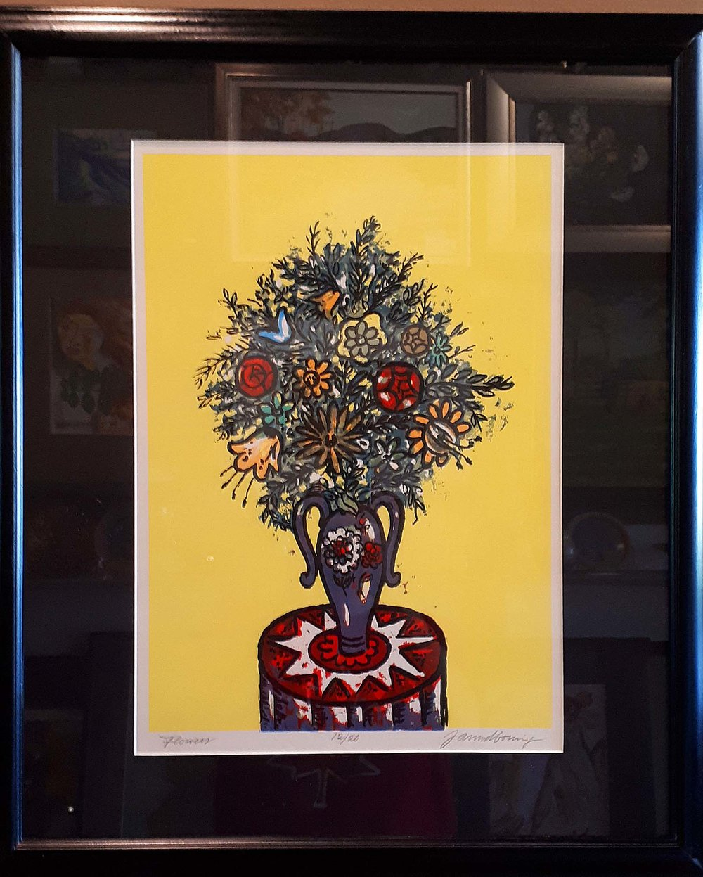 "Jan Boning MSA, Original Print 12/20, ""Flowers"", Size: 23 x 29, Price: 250.00"