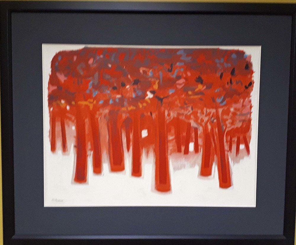 """Joseph Prezament, Canada, Serigraph, """"Red Trees"""", Size: 30 x 37, Price: 395.00"""