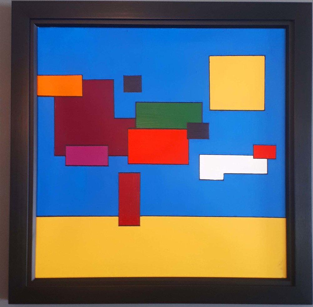 "Tim Wall, Manitoba, Acrylic on canvas, ""Mondrian Manitoba"", Size: 28 x 40, Price: 350.00"