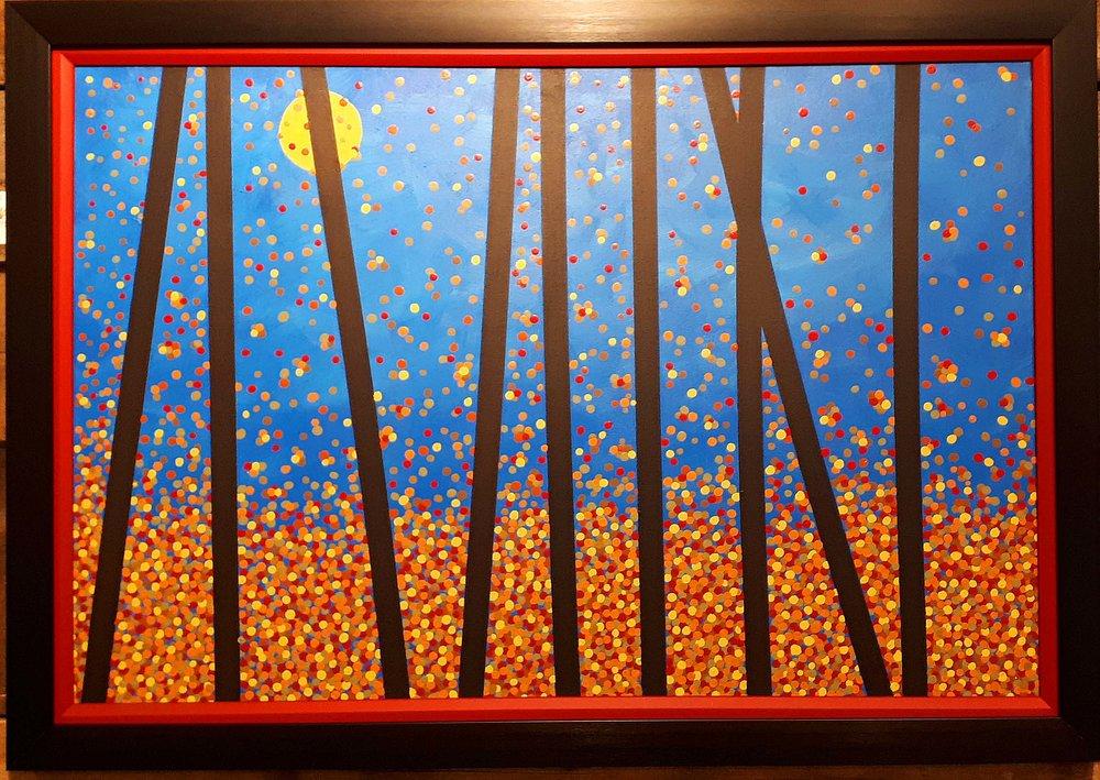 "Tim Wall, Manitoba, Acrylic on canvas, ""Manitoba Mardis Gras"", Size: 28 x 40, Price: 425.00"