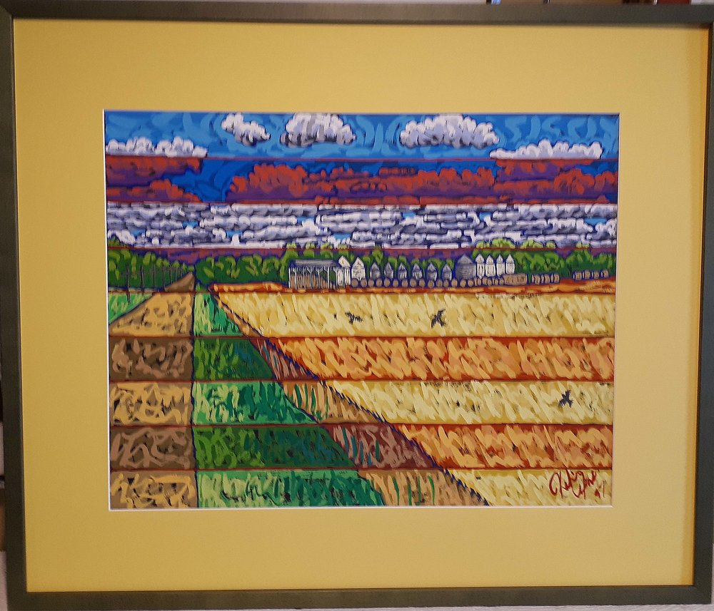 "Kelvin Free, Manitoba, Gouache on paper, ""Rural Landscape"", Size: 32 x 27, Price: 475.00"