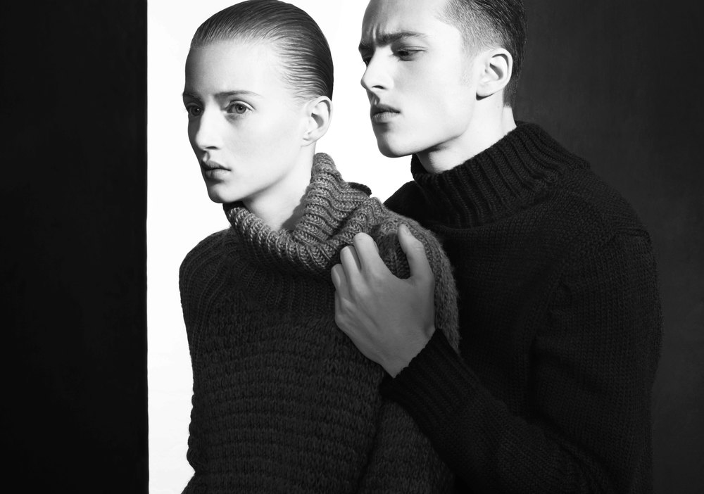 Lisa and Taylor wear sweaters by Ricardo Seco