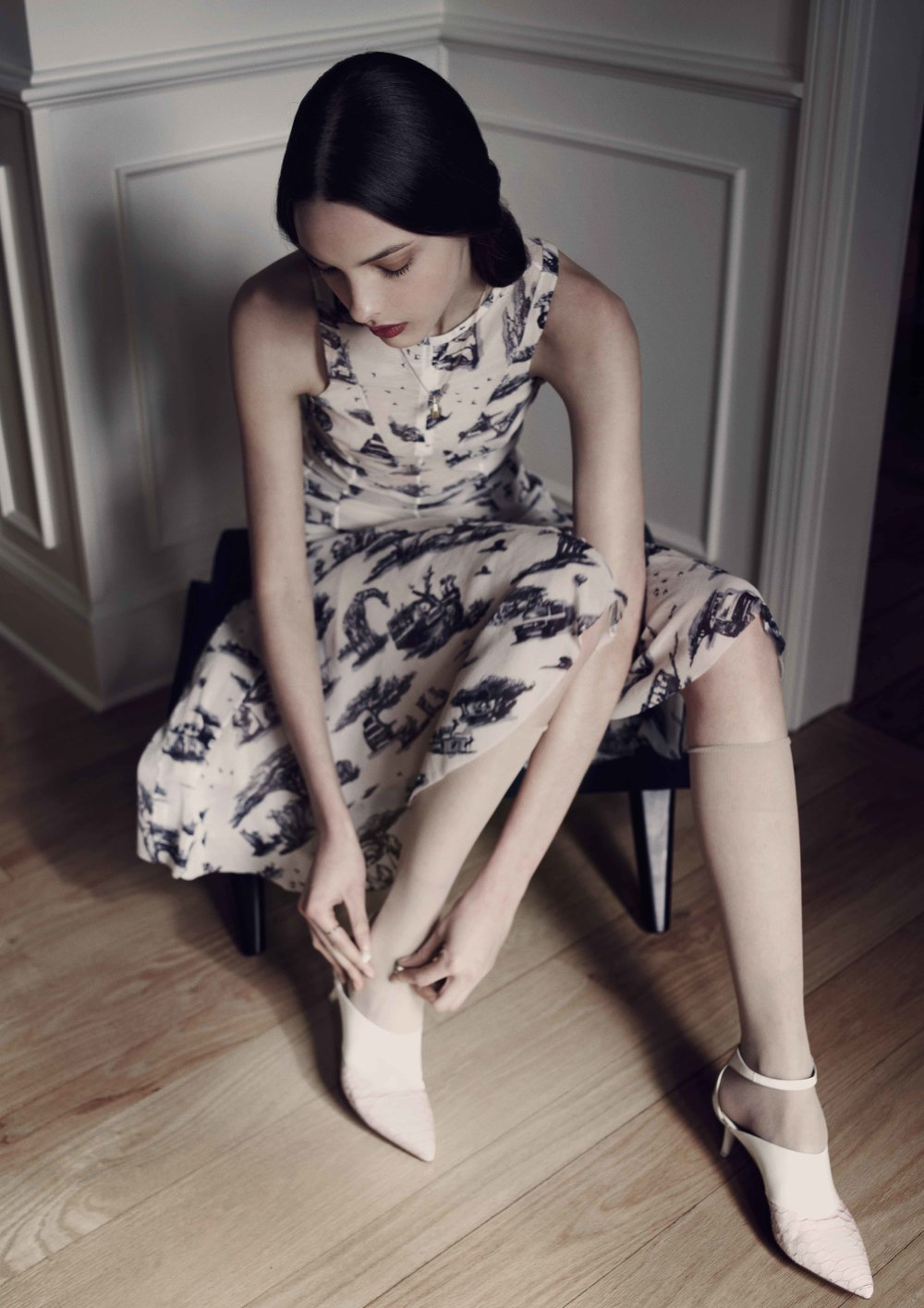 Carven Dress Susan Caplan Locket Necklace Stylist's Own Rabbit Ring Nude Sheer Socks from We Love Colours Ports 1961 Python Kitten Heel