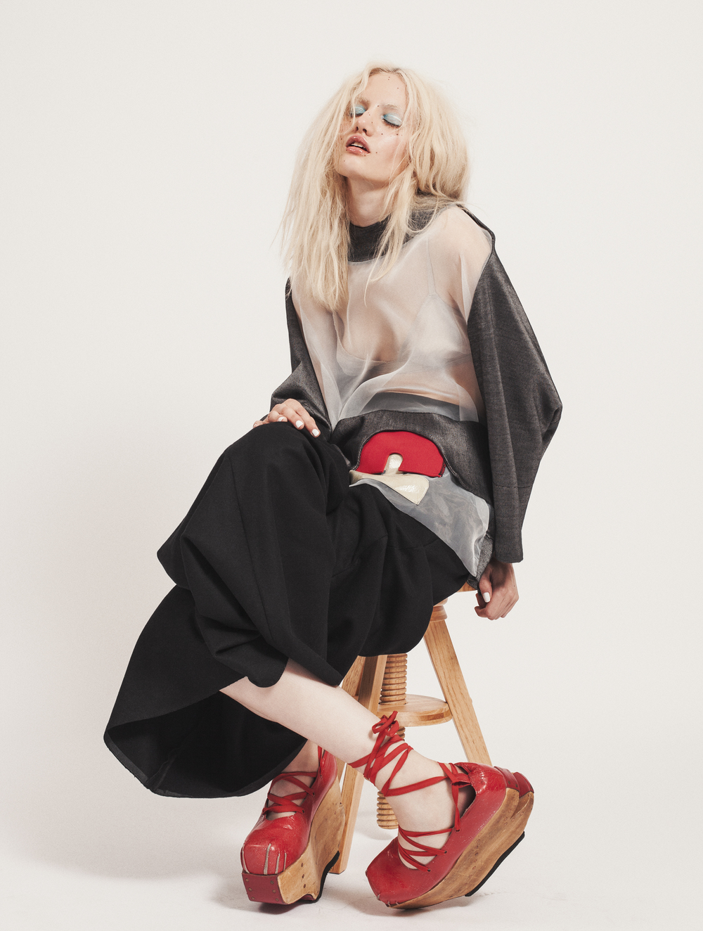 Black Palazzo Trousers by Timur Kim Grey See-Through Top by  Mai Gidah  Shoes by Natacha Marro