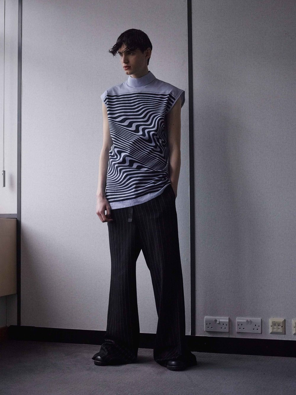 Top  by   Xander Zhou    Trousers by  Ed Lee     Shoes  by   Rory Parnell Mooney