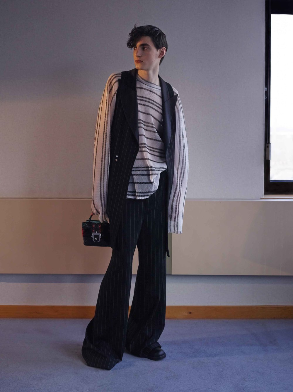 Waist Coat by Ed Lee  Top by Xander Zhou Trousers by Ed Lee Bag by Paula Cademartori Shoes Rory Parnell Mooney