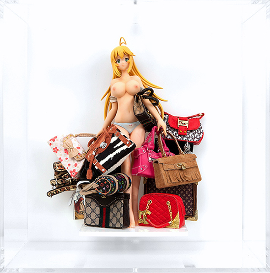 Bag Lady I - from Figures Series: Installation / Sculpture (PVC and Resin Figurine with Mixed Media on Acrylic in Plexiglass Case)