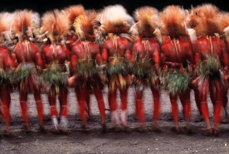 Huli Men Dance at Sing-Sing, Papua New Guinea