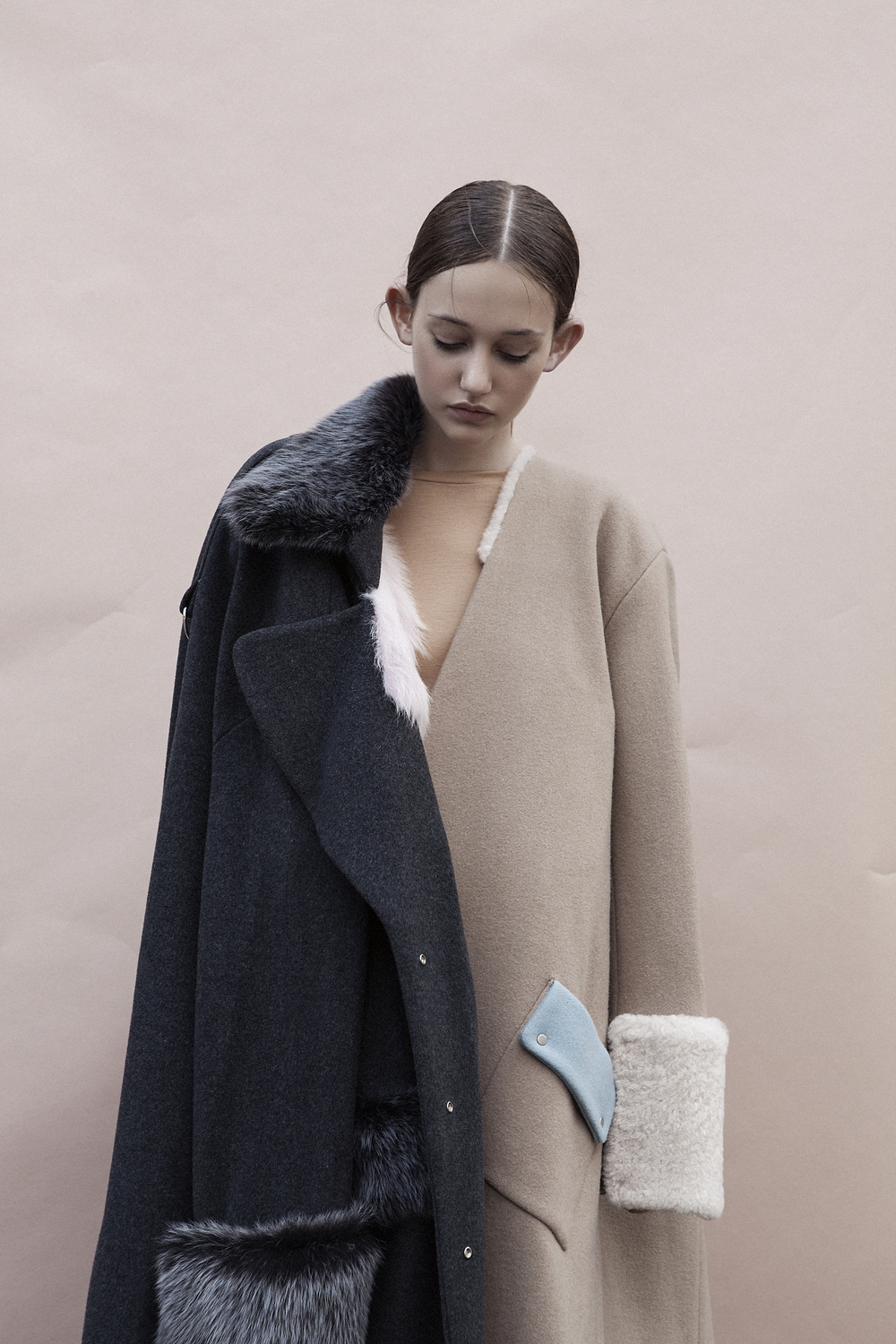 Top by Monki, Grey and Brown Coats by Ming Pin Tien