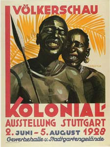 Advertising post for human zoo in Germany, 1928