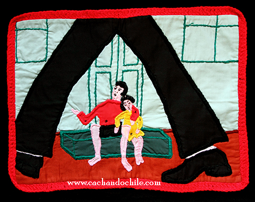 A less traditional arpillera that depicts the plight of the children who were left parentless and the indifference of those who would not see them. (Violeta Morales)