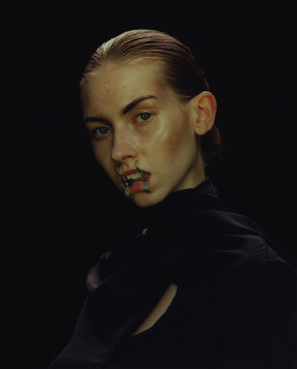 Mouth Piece by Sofia Winberg, Silk Shirt by Palmer//Harding