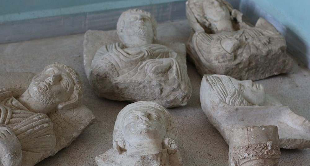 The ancient statues before they were destroyed by Islamic State militants in the Syrian city of Palmyra on July 2, 2015.