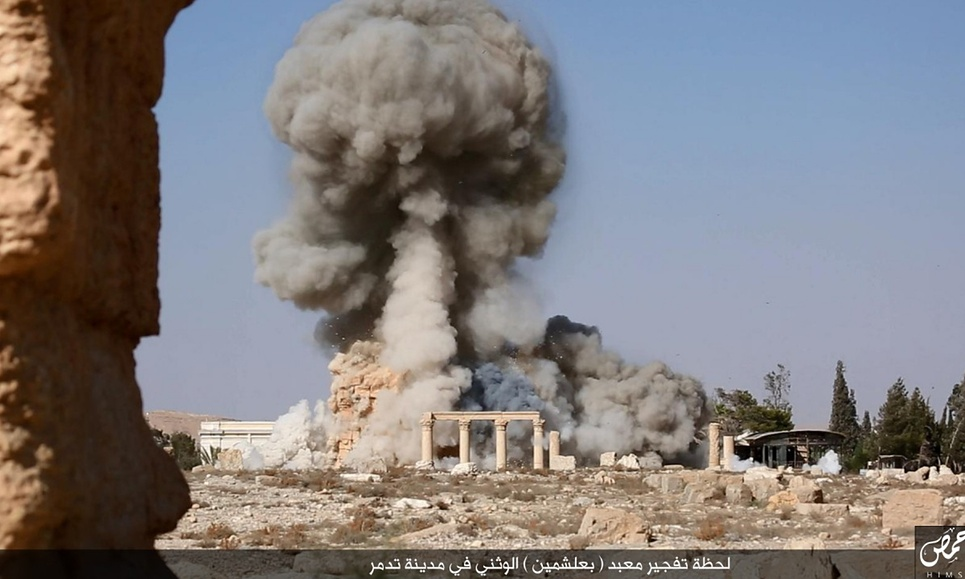Moments when the temple  of Baal Shamin  was blown up.   Photo by   ISIS  /Homs region.