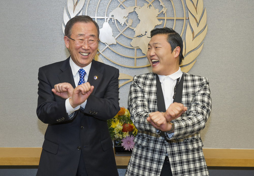 Ban Ki-Moon Dancing  ' Gangnam Style ' with Psy at The U.N. headquaters in New York, 2012