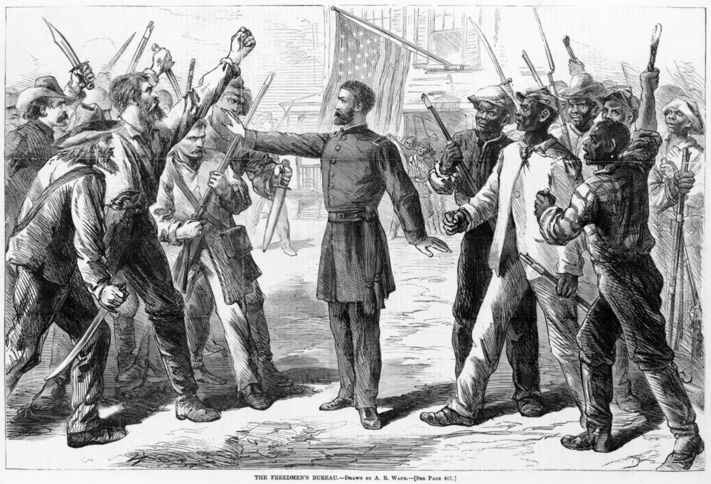 A Bureau agent stands between armed groups of whites and Freedmen in 1868. Photo by  Harper's Weekly