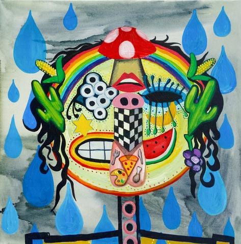 I Speaki Emoji , 41cm x 41cm,Oil and Acrylic on Canvas  , 2015