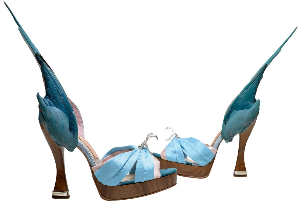 'Parakeet' shoes by Caroline Groves, England 2014. Photo by Dan Lowe