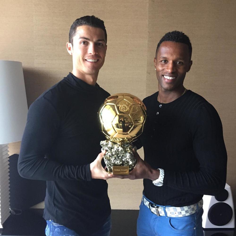 Jose Semedo with Cristiano Ronaldoafter the Ballon d'Or award, 2015