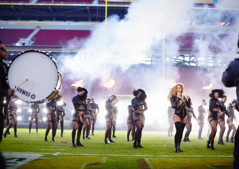 Beyonce performing at the half time Super Bowl 50, 2016. Photography by Robin Harper