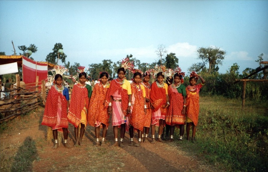 Bhil tribe girls in Jhabua district