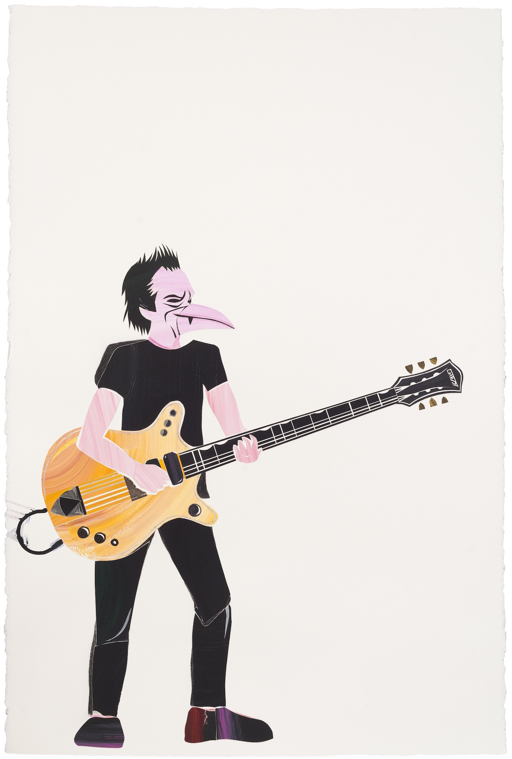 Stevie Young AC/DC 2015. Oil on paper, 160 x 120 cm