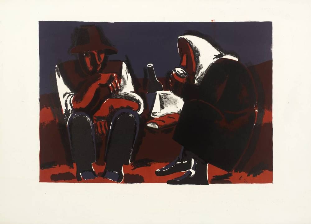 ' Two Seated Peasants '     1961  by  Josef Herman