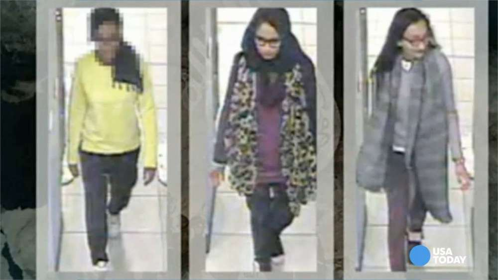 The three East London school girls who fled to join the islamic state in Syria, 2015. Source Metropolitan Police