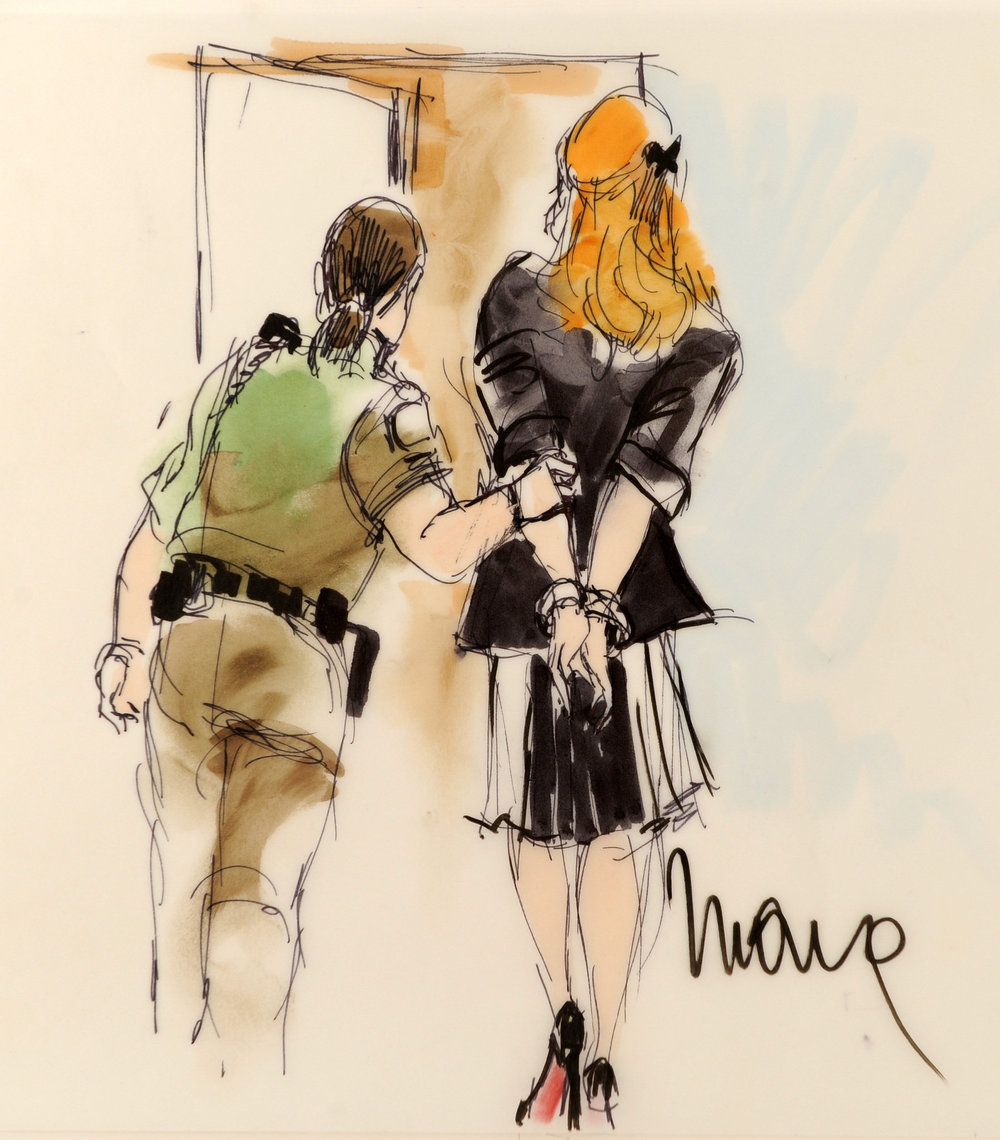 A courtroom sketch of the Lindsay Lohan hearing at the Beverly Hills courthouse in Beverly Hills, 2010.