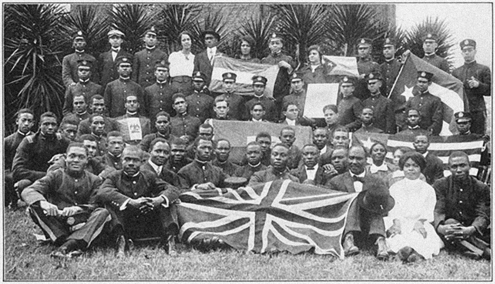 A group of students at Tuskegee Institute in Alabama, who came from the British Colonies of Africa and the West Indies, 1915.