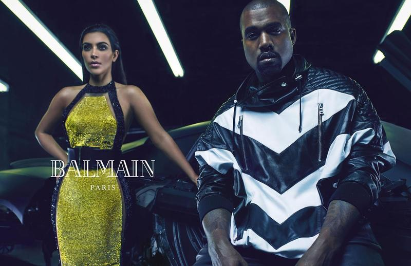 Kim Kardashian and Kanye West in Balmain Srping/Summer 2015 ad campaign. Photography by Mario Sorrenti.