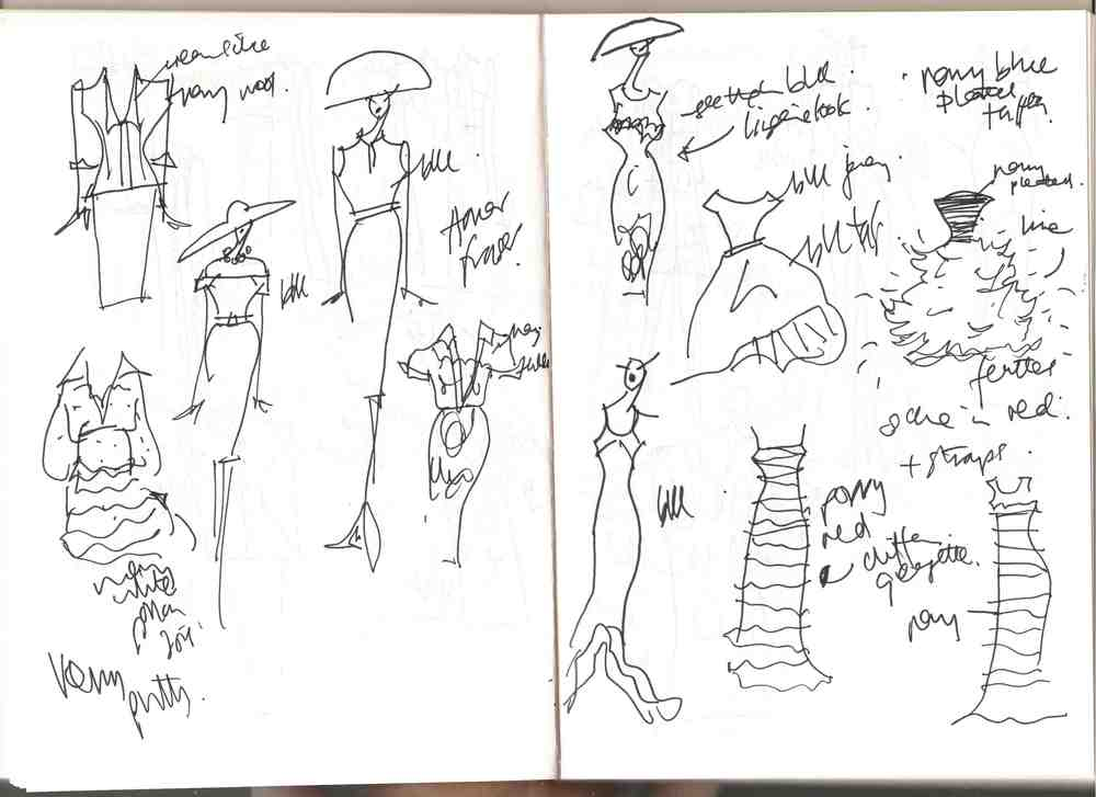 Oscar De La Renta's sketches for Pierre Balmain's Haute Couture Spring/Summer 1997 collection.